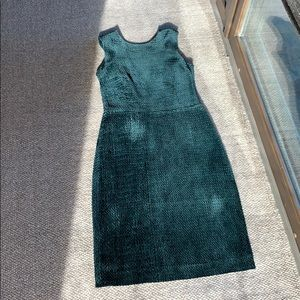 Burberry Black Green Velvet Sheath Cocktail Dress